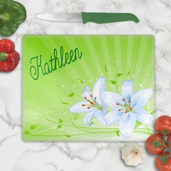 Personalized Easter Lily Glass Cutting Boards