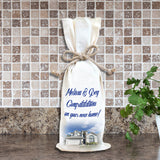 Personalized Wine Bag with picture of a new home and congratulations personalization.