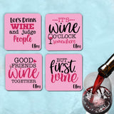 Set of 4 fabric coasters with rubber back. Printed with four different funny wine quotes and your name.