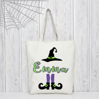 Halloween Tote Bag with Witches Hat, Your Name and Witches legs and shoes. In fun purple and lime green