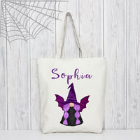 Gnome Witch Tote Bag personalized with any name