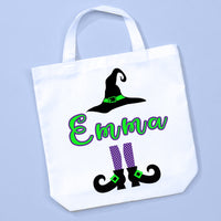 Tote bag lying flat to show personalization