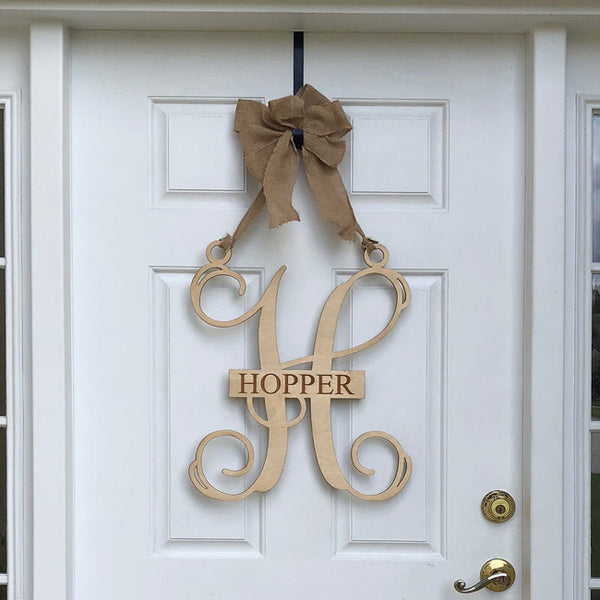 Door Sign Personalized Monogram Wood Door Sign