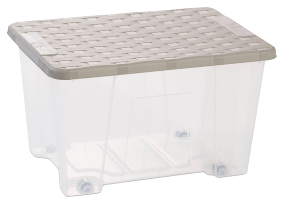 Rattan Lid Storage Box 15L W/Wheels