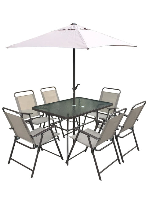 Palermo 8 Piece Set New Mink Colour (6 Chairs, Rect, Crank Paras