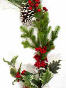 6ft / 180cm Red Berry and Holly Christmas Garland