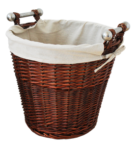 Round Honey Wicker Basket, Jute Liner & Alu Handles