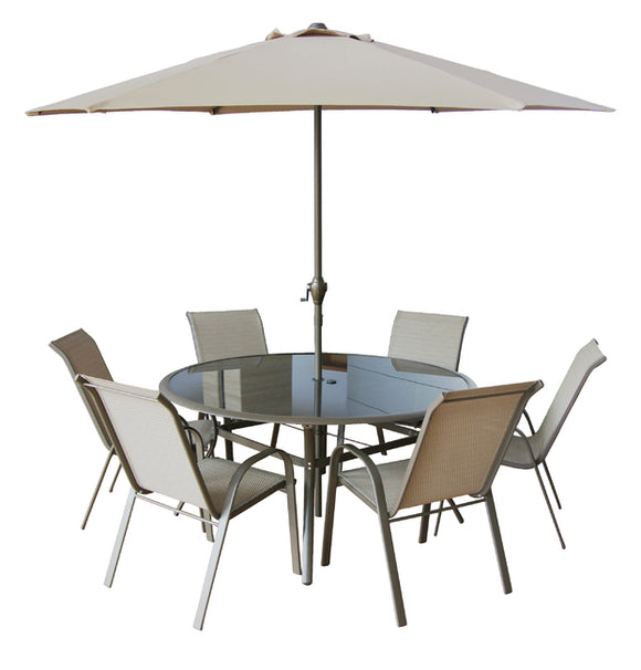 Copenhagen 8 Piece Rectangular Patio Set With Parasol