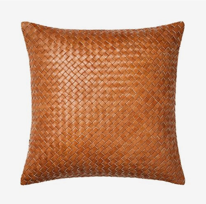 Tennant Woven Leather Cushion - Mahere