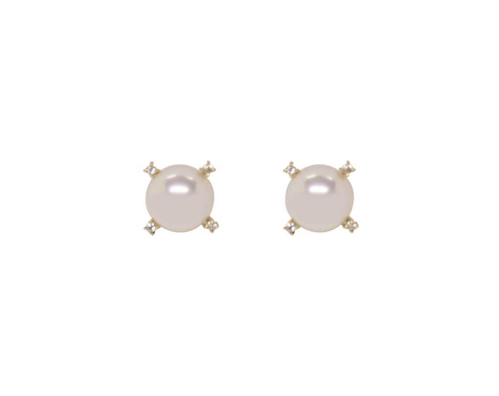 4 Prong Diamond Studs - Akoya Atelier