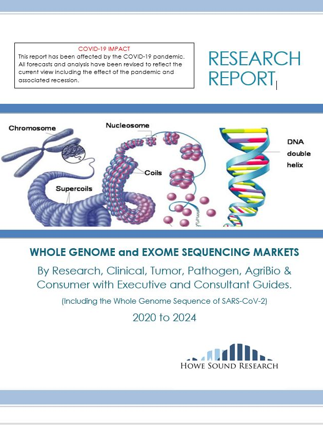 WHOLE GENOME and EXOME SEQUENCING MARKETS By Research, Clinical, Tumor, Pathogen, AgriBio & Consumer with Executive and Consultant Guides. (Including the Whole Genome Sequence of SARS-CoV-2) 2020 to 2024