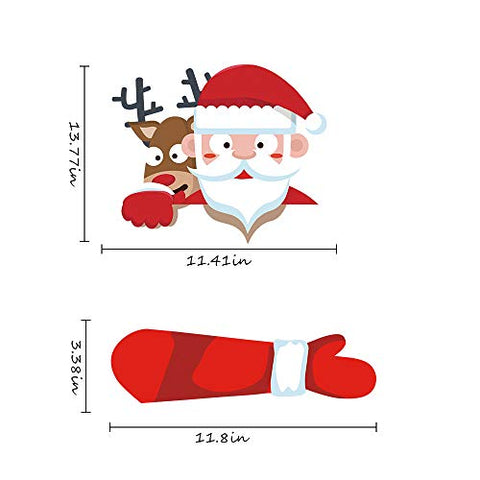 Christmas Santa and Reindeer Waving Wiper Decal