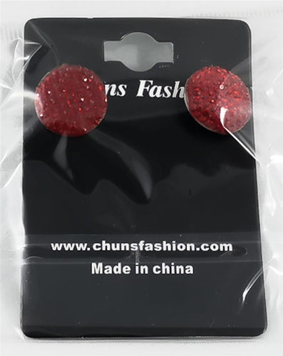 Circle - Small - Red Pierced Earrings Costume Jewelry