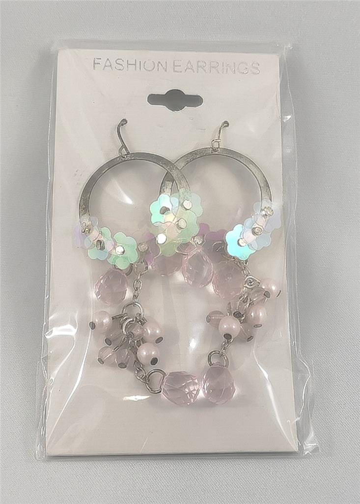 Flowers and Gems - Clear Pierced Earrings Costume Jewelry