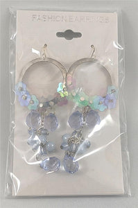 Flowers and Gems - Light Blue Pierced Earrings Costume Jewelry ($5 Incl Tax)