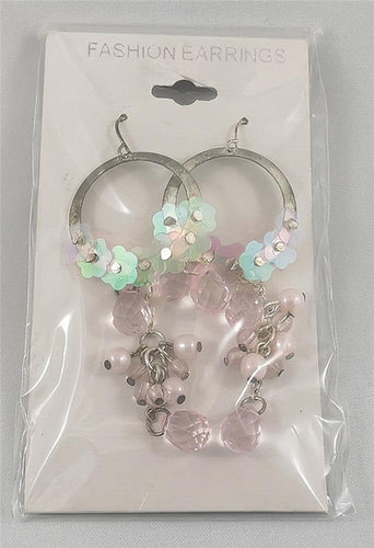 Flowers and Gems - Pink Pierced Earrings Costume Jewelry
