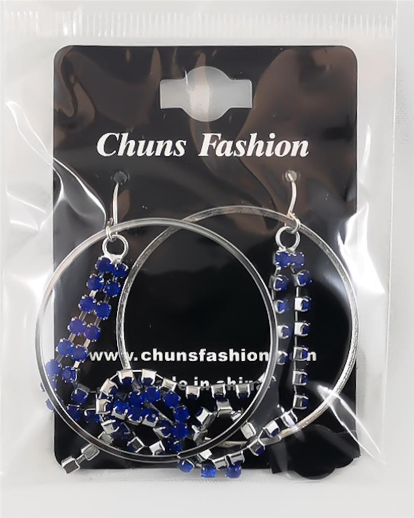 Loops and Gems - Dark Blue Pierced Earrings Costume Jewelry