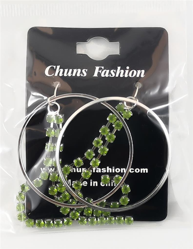 Loops and Gems - Light Green Pierced Earrings Costume Jewelry ($5 Incl Tax)