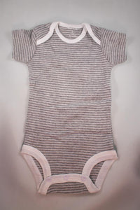 Baby Onesie - Light Grey stripes on Grey - 3 Month