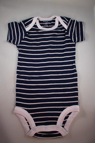 Baby Onesie - Thin White Stripes on Black - 6 Month ($5 Incl Tax)