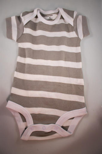 Baby Onesie - White and Thick Grey Stripes - 6 Month ($5 Incl Tax)