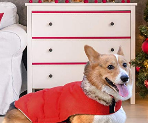 ($25) Comfortland Cozy Dog Cotton Padded Jacket Dog Winter Coat w Fleece & Fur Collar Sm/Med Pets