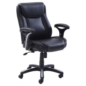 EZ Black Task Chair For Office/Home Office - 100% Bonded Leather Seating Area (NEW)