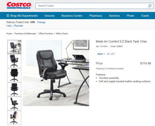 Load image into Gallery viewer, EZ Black Task Chair For Office/Home Office - 100% Bonded Leather Seating Area (NEW)