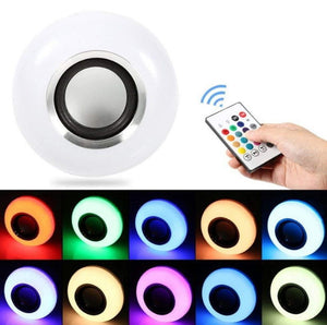 18W Color Changing Smart Bluetooth Speaker LED Flame Bulb w/many colours! - Works With A Remote -  Great Sound, Great Ambience!