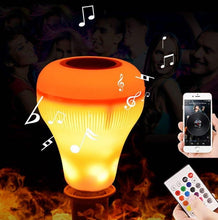 Load image into Gallery viewer, 18W Color Changing Smart Bluetooth Speaker LED Flame Bulb w/many colours! - Works With A Remote -  Great Sound, Great Ambience!