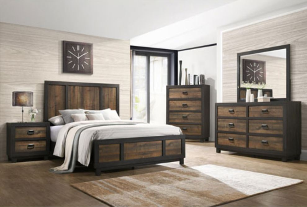 SouthShore WALNUT Harrison Transitional Bed - QUEEN