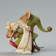 Load image into Gallery viewer, Mouse on Toy Reindeer Figurine