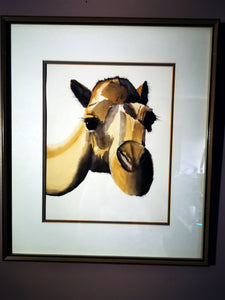 "Friendly Camel  19"" X 16"" Framed - USED"
