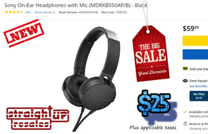 **NEW** <OPEN BOX> SONY MDR-XB550AP EXTRA BASS ON EAR W/MiC ($25 Incl Tax)