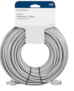 Insignia RJ45 100' Ethernet Cat6 Patch Cable (NS-PNW76C0-C) - Grey