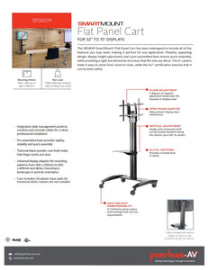 "Heavy Duty Commercial Grade Peerless SmartMount® Flat Panel TV Stand Cart for 32"" to 75"" Flat Panel Displays ($225 Incl Tax)"