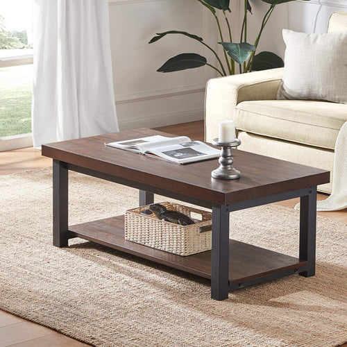 SHOCOKO Coffee Table, Rustic Wood and Metal Cocktail Table with Shelf for Living Room, Espresso