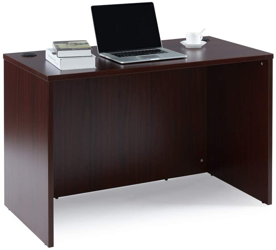 Sunon Computer Desk Rectangular Office Desk Laminate Desk Shell with 2-Black Grommets (Mahogany)