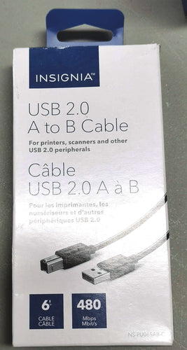 Insignia USB A to AB Printer Cable 6' (NS-PU065AB-C)