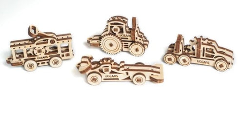 UGears NO GLUE REQUIRED U-Fidgets-Vehicles. Set of 4 models (Easy) UGR70033