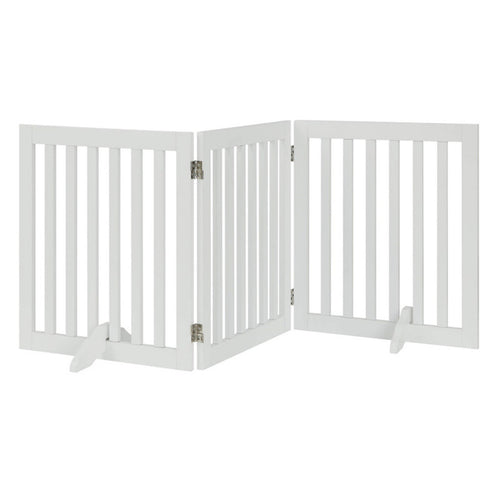 Unipaws Freestanding Wooden Dog Gate, Foldable Pet Gate with 2PCS Support Feet, 24 Inch Tall, 60 Inch Wide, White