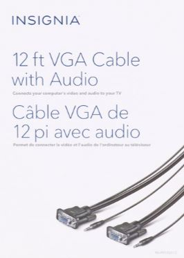 Insignia VGA Cable With Audio 12' (NS-PV12531-C) ($12 Incl Tax)