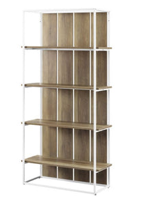 "NEW IN BOX Winmoor Farmhouse White Metal with MDF/Oak Shelves Shelf 64"" High ($175 Incl Tax)"