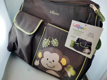 Load image into Gallery viewer, Baby Boom Monkey Duffle Diaper Bag Brown/Green