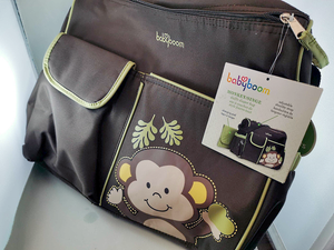 Baby Boom Monkey Duffle Diaper Bag Brown/Green