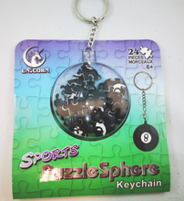 Load image into Gallery viewer, 3D Sports Puzzle Sphere Keychain Ages 6 & Up Baseball, Basketball, Eight Ball, Soccer Ball ($5 Incl Tax)