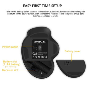 iMice G6 6 Button Ergonomic Wireless Optical Mouse with USB Receiver for Computer