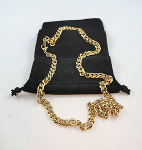 "U7 Cuban Curb Chain Men Women Necklace Daily Fashion Jewelry 18K Gold Plated Stainless Steel Necklace 28"" ($12 Incl Tax)"