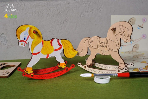 UGears  NO GLUE REQUIRED Rocking Horse 3D Puzzle Model - 8 Pieces (Easy) UGR10004