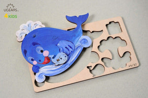 UGears  NO GLUE REQUIRED Model Whale 3D-puzzle Coloring Model - 8 pieces (Easy) UGR10005